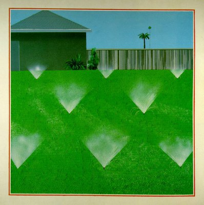 David Hockney A lawn  being sprinkled 1967