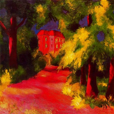 Macke, Red House In Park 1914